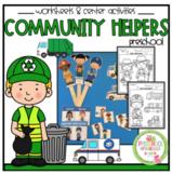 Community Helpers Worksheet and Teacher Puppet Sticks