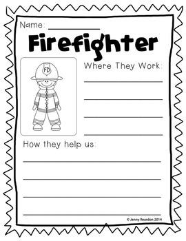 Community Helpers Worksheets + Book