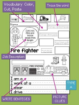Community Helpers Interactive Worksheets : Vocabulary, Cut, Color, Paste, Write