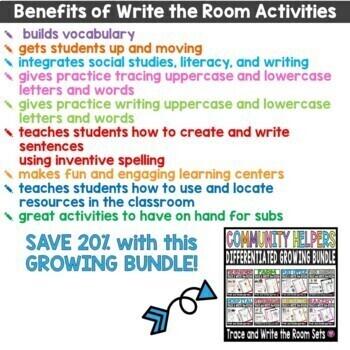 Community Helpers Write the Room Kindergarten Bundle