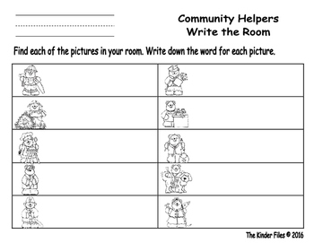 Community Helpers Write the Room- Includes 3 levels of answer sheets