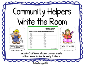 Community Helpers Write the Room- Includes 3 levels of ans