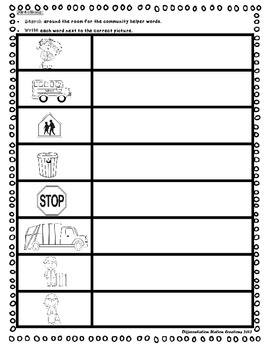 """Community Helpers """"Write the Room"""", Noun and Syllable Sorts, and Printables"""