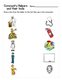 Community Helpers and Their Tools Matching Worksheet