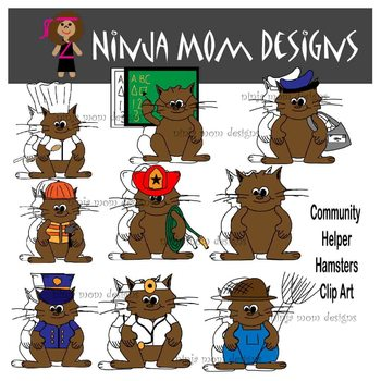 Community Helpers as Hamsters Clip Art in Color and Black Line
