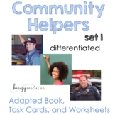 Community Helpers (Adapted book, Task Cards, Worksheets)