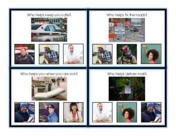 Community Helpers (Adapted book, Task Cards, Worksheets)