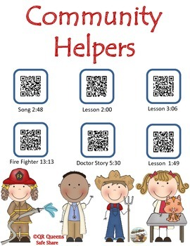 Community Helpers using QR CODES and LINKS Listening Center