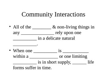 Community Interactions Cloze