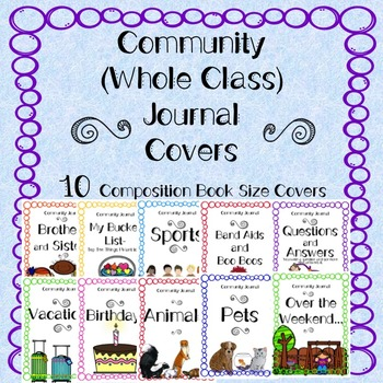 Community Journal Covers (Whole Class Journals) Composition Book Size