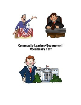 Community Leaders/Government Vocabulary Test & Jeopardy Game
