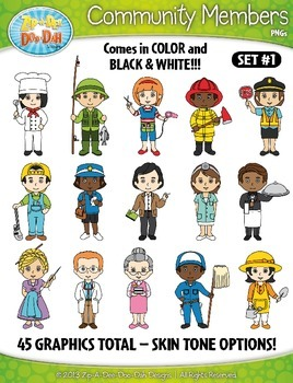 Community Members / Helpers Character Clipart Set 1 — Incl
