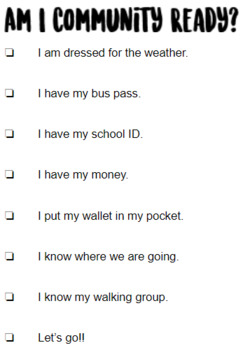 Community Outing Checklist