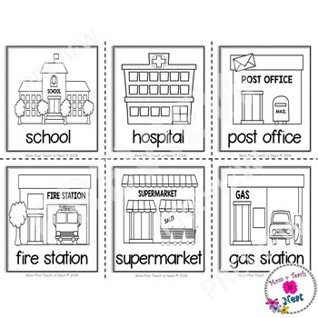 Community Places Picture Vocabulary Word Cards (BW Version)