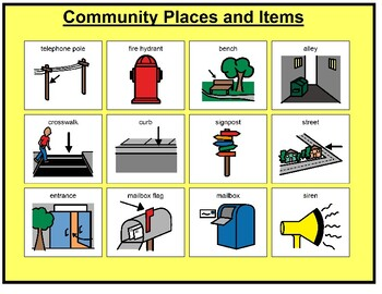 Community Places and Items Matching Board Game!