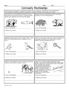 Community Relationships Biology Homework Worksheet
