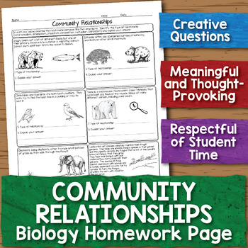 Community Relationships Biology Homework Worksheet by ...