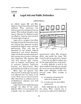 Community Resources: Emergency Assistance-Legal Aid and Public Defenders