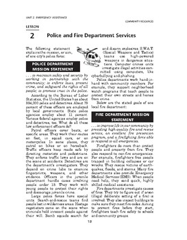 Community Resources: Emergency Assistance-Police and Fire Department Services