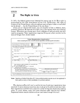 Community Resources: Services for Citizens-The Right to Vote