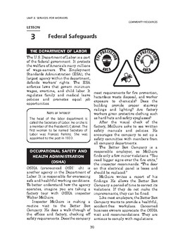 Community Resources: Services for Workers-Federal Safeguards