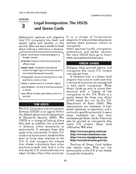 Community Resources: Svcs for Citizens-Legal Immigrat: The USCIS & Green Cards