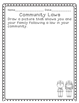 Social Studies: Community Rules and Laws Writing Prompts