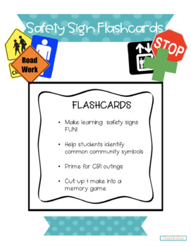 Community Safety Sign Flash Cards