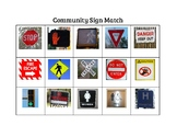 Community Safety Signs Matching Word to Picture