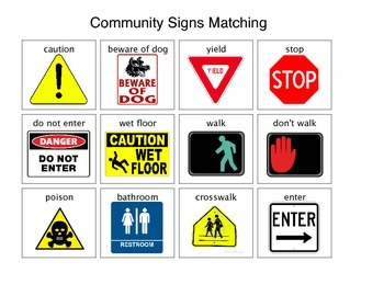 community safety signs and symbols matching by peace love autism. Black Bedroom Furniture Sets. Home Design Ideas