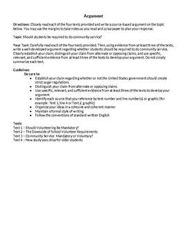 Community Service Argument Essay