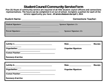 community service hours sheet for high school community service form editable by cotter tpt 17461