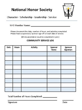 Community Service Log Worksheets Teaching Resources Tpt