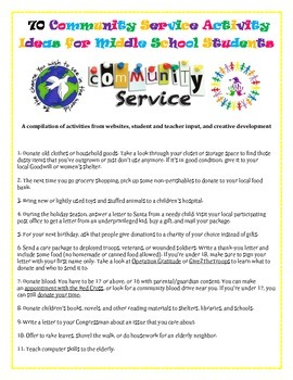 Community Service Ideas: Middle School Students