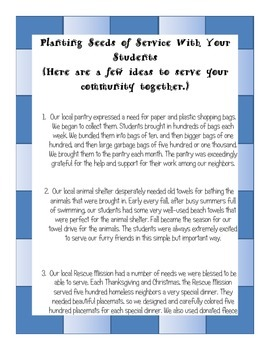 Community Service Ideas for Elementary Students