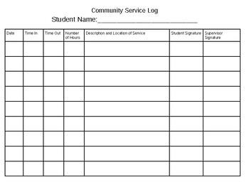 image regarding Community Service Log Sheet Printable named Neighborhood Support Log Worksheets Education Elements TpT