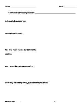 Community Service Organization- Research Worksheet