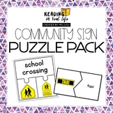 Community Sign Puzzles {Reading in Real Life: Signs} #warmupwithsped2