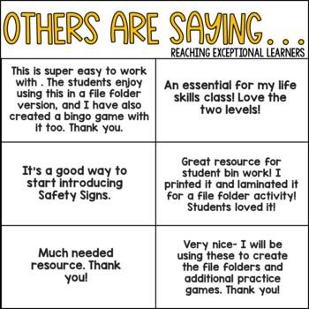 Safety Signs File Folder Activity