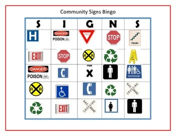 Community Signs Bingo or Match Game