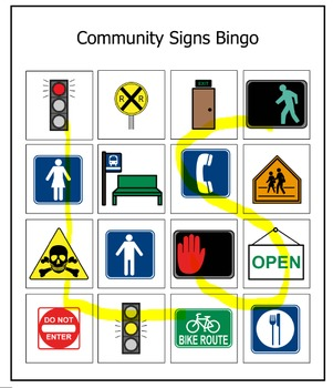 Community Signs Bingo Life Skills Bingo game Learning vocational CBVI