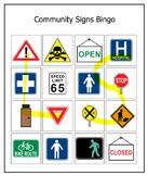 Community Signs Bingo Life Skills Bingo game Learning voca