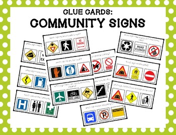 Community Signs Clue Clip Cards