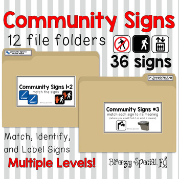 Community Signs / Environmental Print File Folders for Special Education