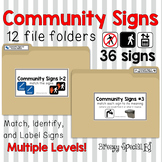 Community Signs / Environmental Print File Folders for Spe