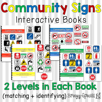 Community Signs Interactive (Adapted) Books for Special Ed