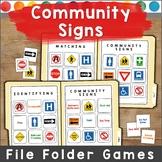 Community Signs File Folder Games