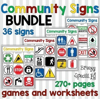 Community Signs Games and Worksheets THE BUNDLE for Special Education