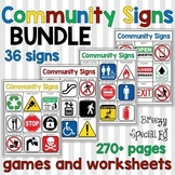 Community Signs Games, Posters, and Worksheets THE BUNDLE for Special Education