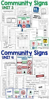 Community Signs Games, Posters, and Worksheets (All 4 Units) for Special Ed